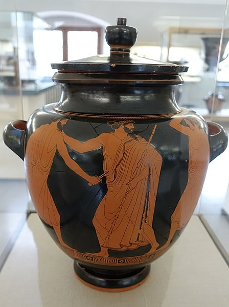 Death of the tyrant Hipparchus, by the Syriskos Painter, 475-470 BC