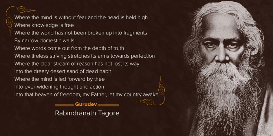 Few lines from the english translation of Gitanjali, for which Tagore was awarded Nobel Prize
