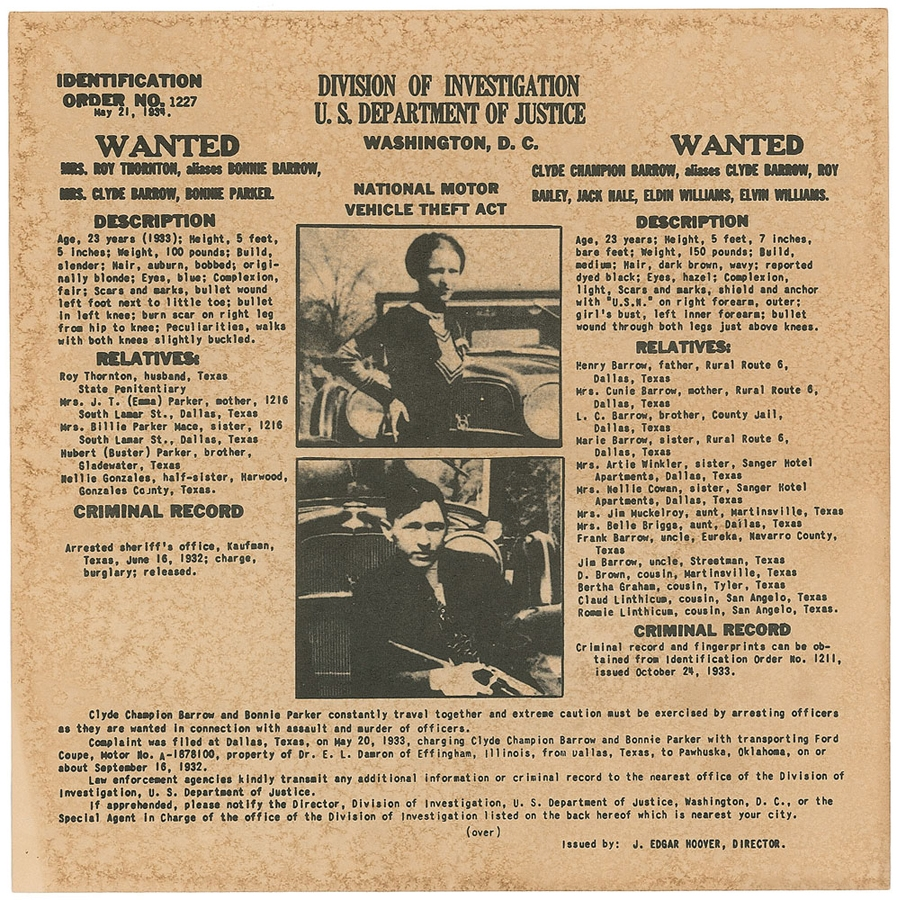 Bonnie & Clyde wanted poster,1934