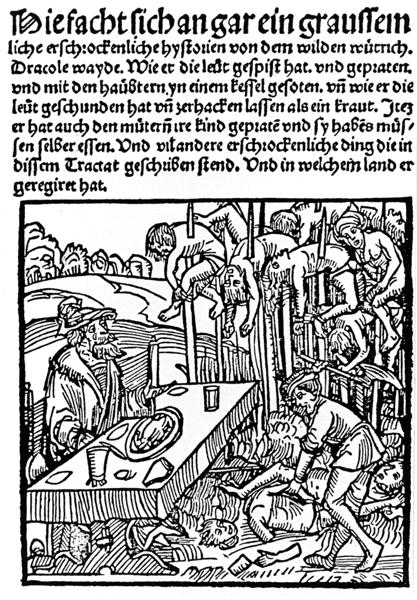 Pamphlet published in 1499, depicting Vlad dining among the impaled corpses of his victims.