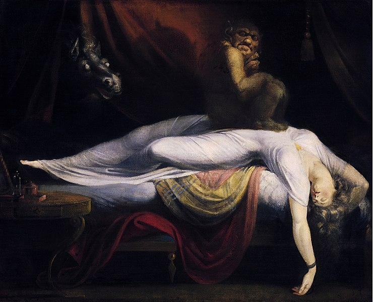 The Nightmare, by Henry Fuseli (1781) is one of the classic depictions of sleep paralysis perceived as a demonic visitation.