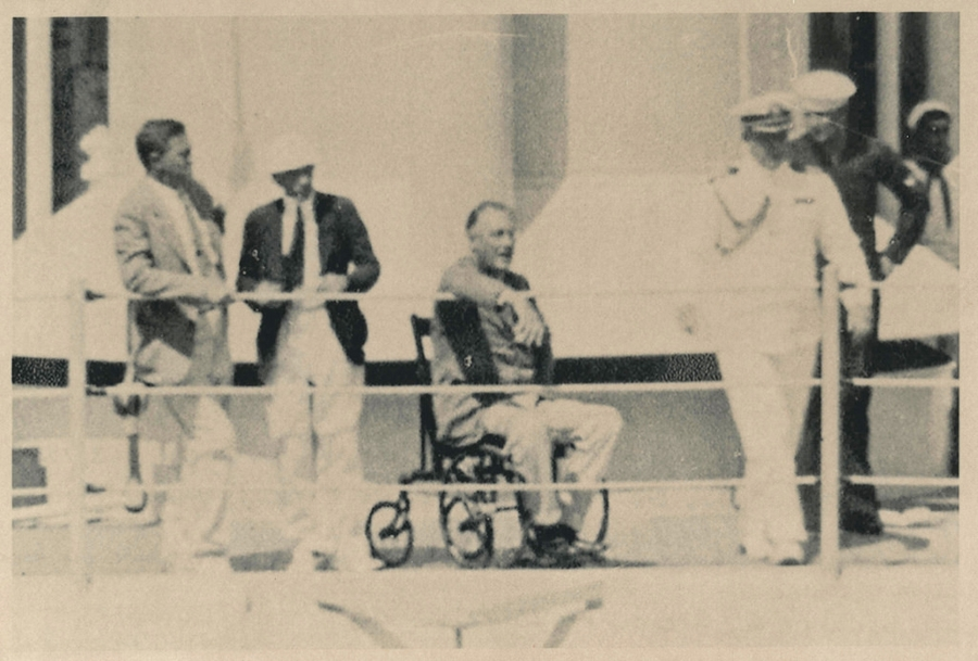 Franklin D. Roosevelt in his wheelchair aboard the USS Indianapolis, July 1-3, 1933