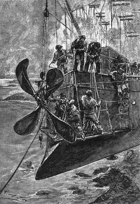 An illustration from Jules Verne novel- Robur the Conqueror