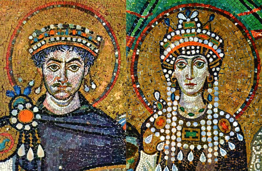 Mosaics from a church in Ravenna, Italy - Justinian on one wall faces Theodora on opposite