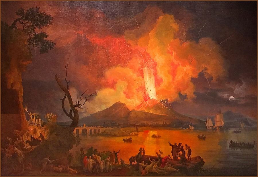 A painting showing  Eruption of Mount Vesuvius