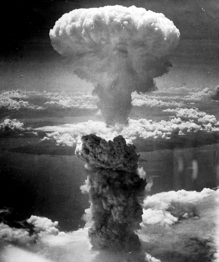 Mushroom cloud from the atomic explosion over Nagasaki - August 9, 1945.