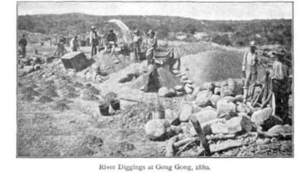 River diggings at Gong Gong, South Africa