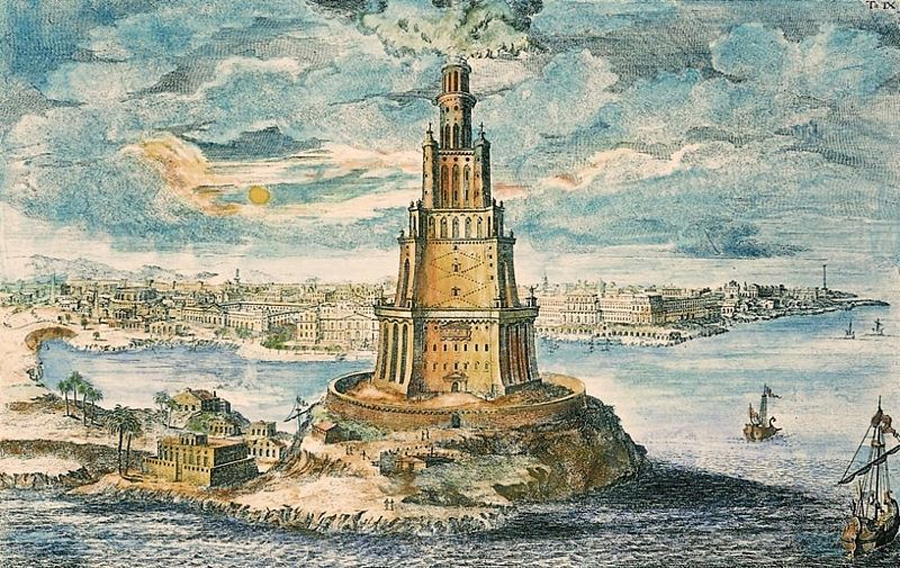 An artistic impression of Lighthouse of Alexandria , with the city in background