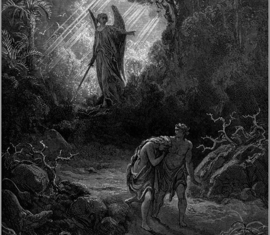 Adam and Eve disobeying god & subsequent banishment from Eden, resembles incidence of Pandora's box.