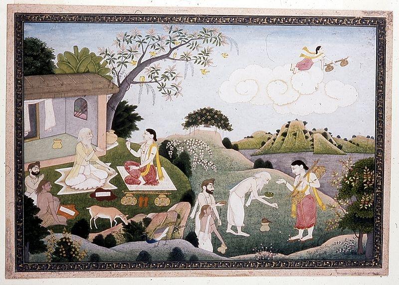 A painting depicting Narada visiting  Valmiki