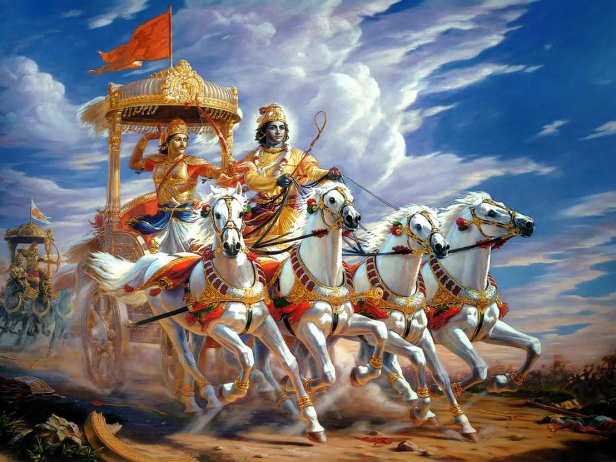 Lord Krishna, as charioteer of prince Arjuna, in Mahabharata war