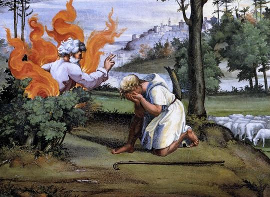 Moses in front of the Burning Bush