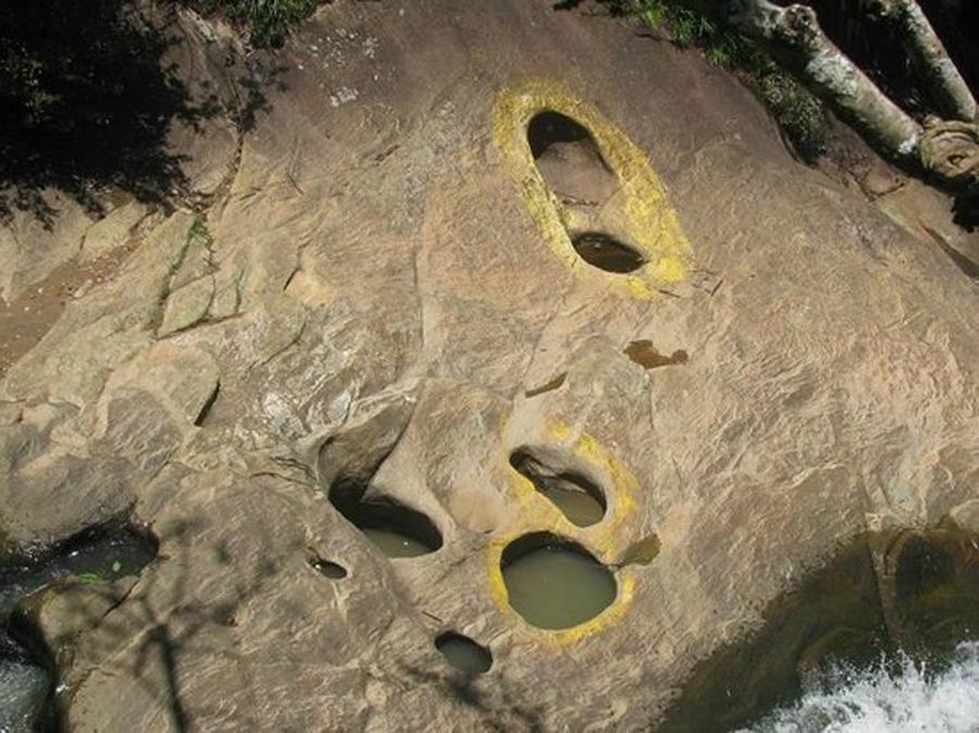 Footprints believed to be of -Lord  Hanuman