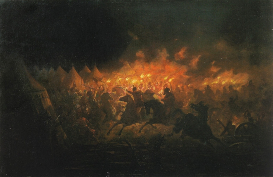 Vlad's Nocturnal Attack on the Turkish Main Camp (Paintings by Theodor Aman , 19th century)