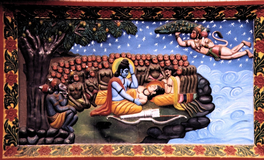 Wounded Laxman in the battlefield
