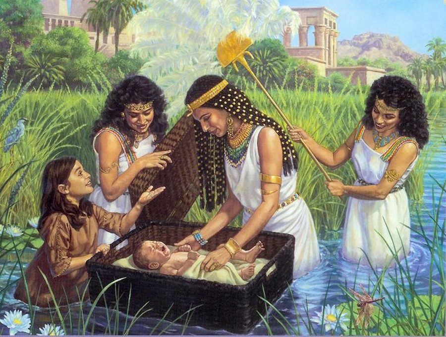 Egyptian princess discovering baby  Moses