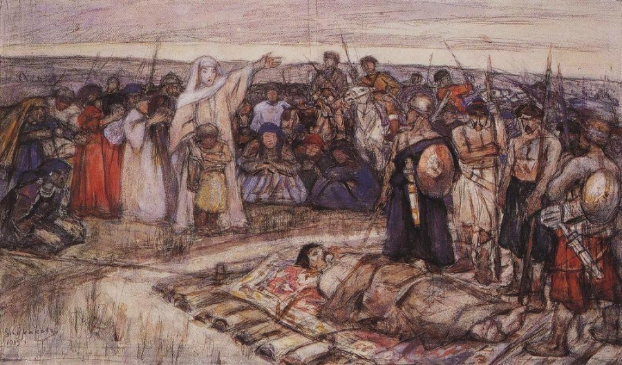 Queen Olga views the body of her husband. A sketch by Vasily Surikov.