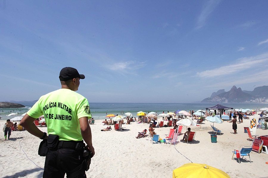 A security official in beach