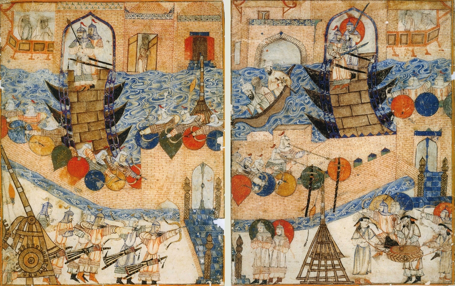Persian painting (14th century) of Mongol army besieging city of Baghdad