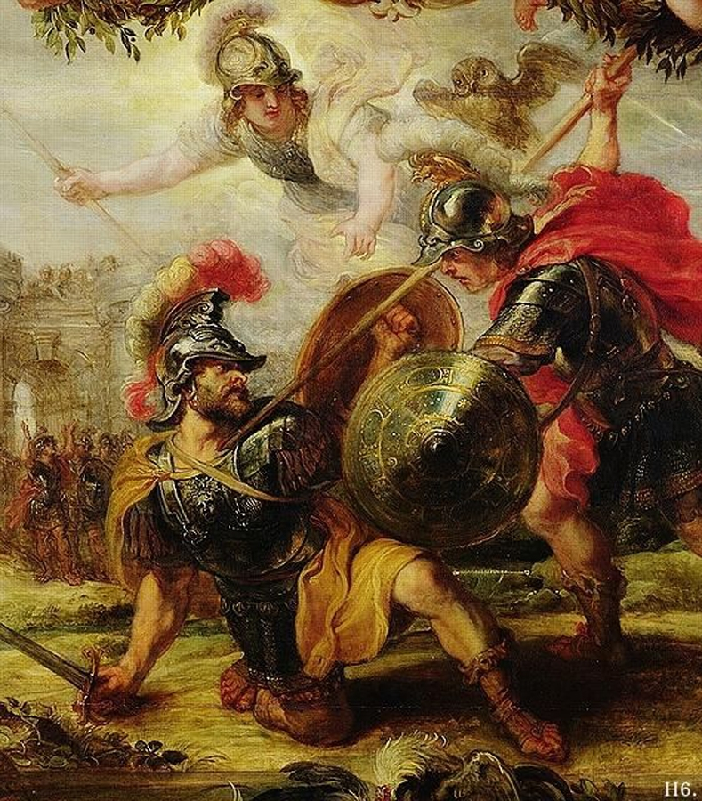Greek warrior Achilles killing prince Hector of Troy