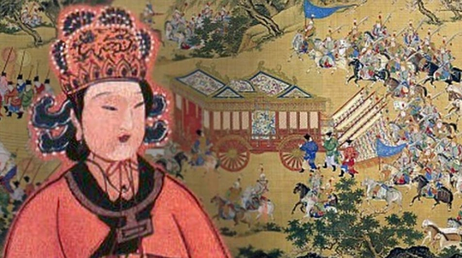 Famous work of art depicting the Chinese emperor's (Wu Zetian's)large procession