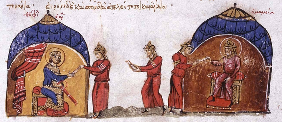 Abbasid Caliph al-Mamun sends an envoy to Byzantine Emperor Theophilos