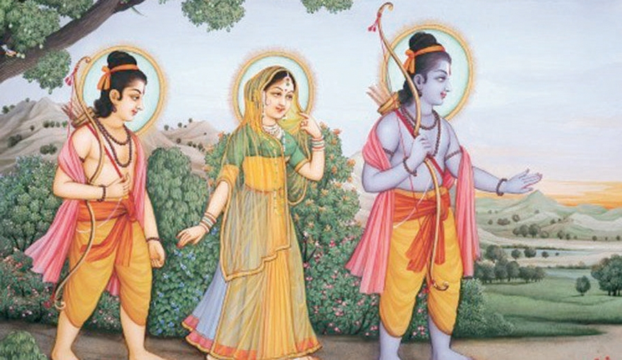 Lord Rama, Laxmana and Sita going into exile