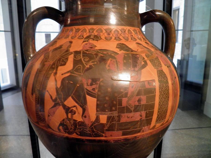 Storage jar , of ancient Greek Pottery, showing scenes from Trojan War