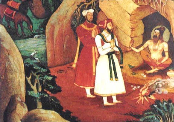 Painting showing Harihara and Bukka meeting Vidyaranya