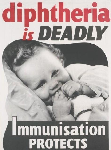 A poster raising awareness about Diphtheria
