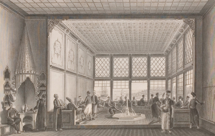 A depiction of a late eighteenth-century Ottoman coffeehouse in Istanbul