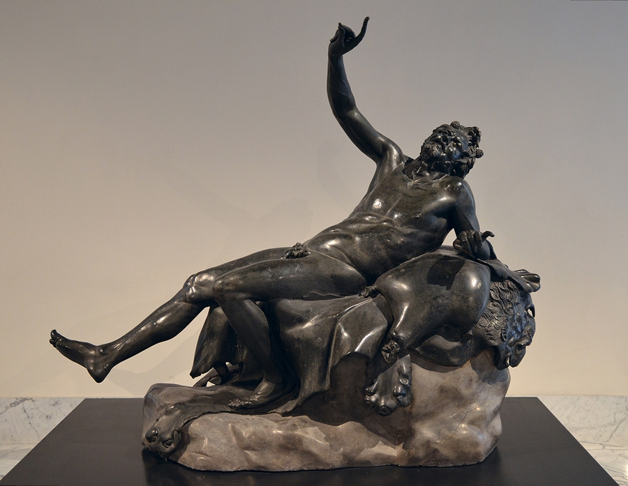 Statue of Drunken Satyr( drunken woodland god) from the Villa of the Papyri, now in Naples National Archaeological Museum