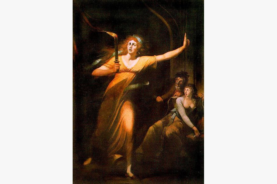 A 18th century painting of sleepwalking Lady Macbeth, based on - Tragedy of Macbeth, by William Shakespeare.