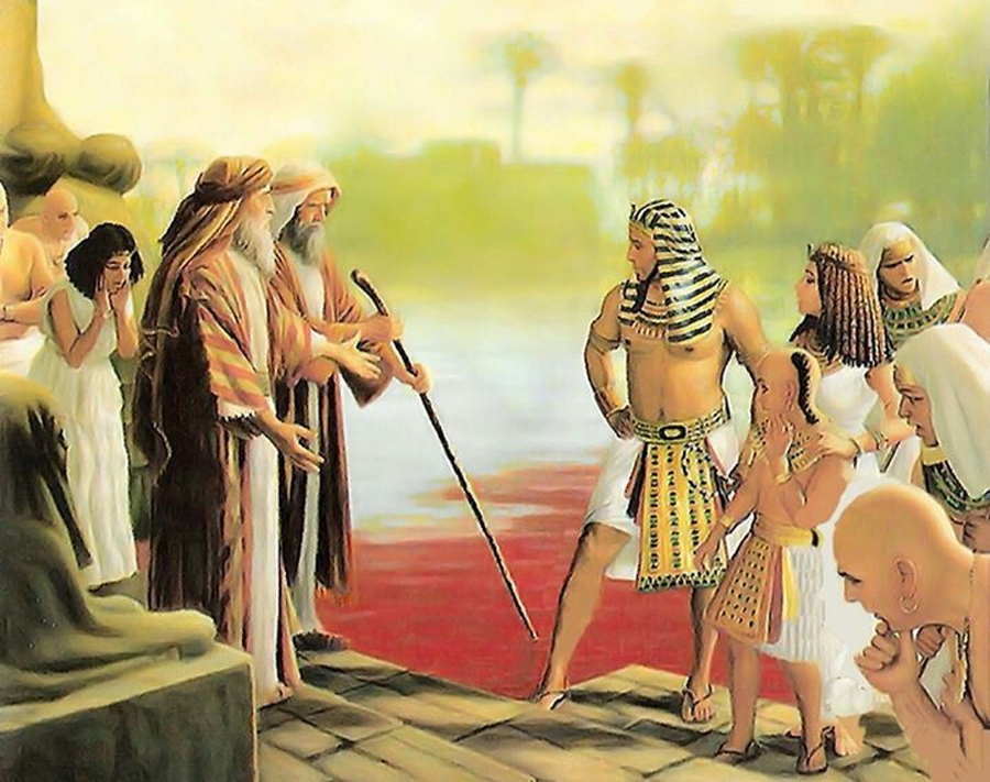 Moses struck the water in Egypt with his rod and all the waters turn red