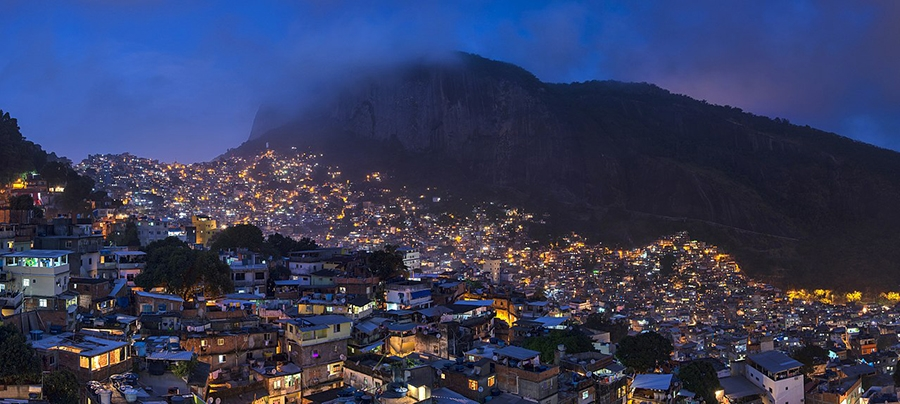 Night view of Rocinha, the largest favela in Brazil, located in the city of Rio de Janeiro.