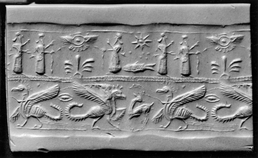 Mesopotamian Cylinder Seal with Griffins,Humans and  Winged Disks.