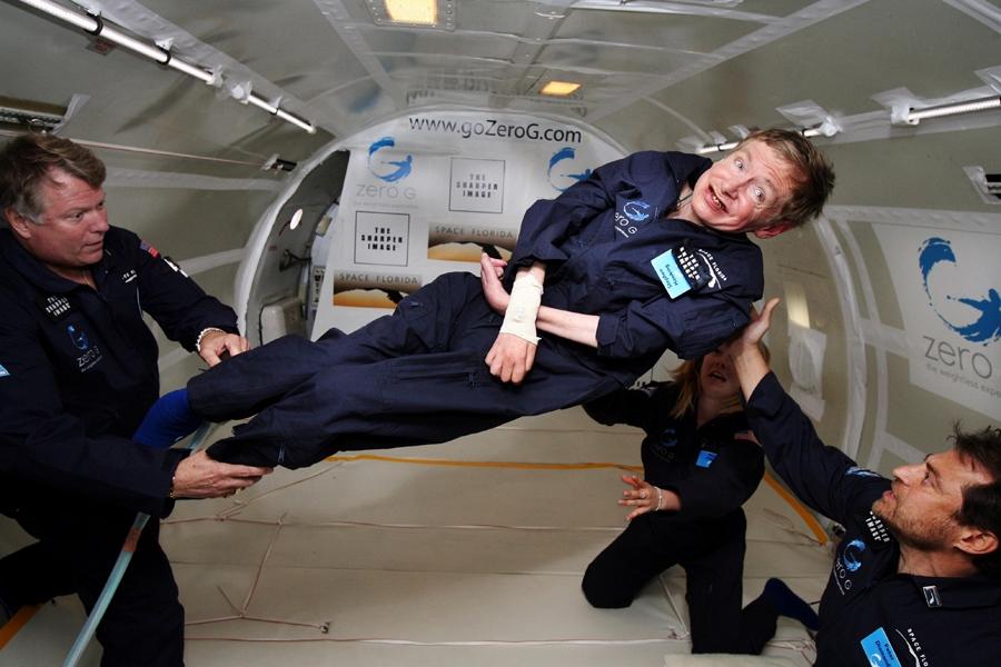 Physicist Stephen Hawking in zero gravity exercise